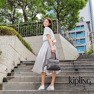 Kipling 極簡深卡其灰色前翻蓋手提側背包-ENORA