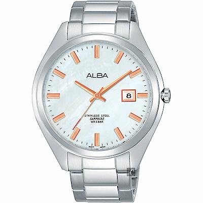 ALBA雅柏 城市情人時尚手錶(AS9F65X1)-珍珠貝x銀/42mm