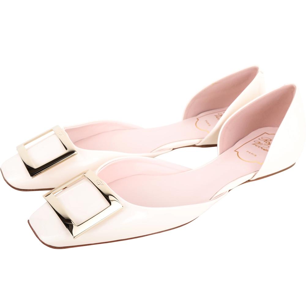 Roger Vivier Trompette Dorsay 方釦漆皮芭蕾舞平底鞋(奶油白)