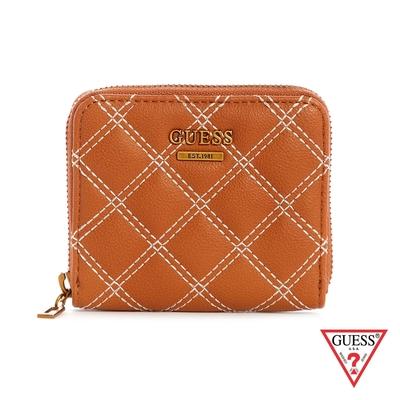 GUESS-女夾-氣質簡約菱格紋拉鍊零錢包-棕 原價1490