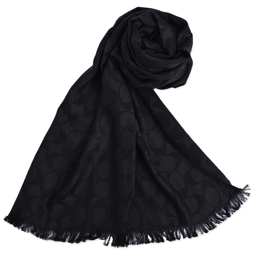COACH 大C 滿版Logo羊毛混絲流蘇寬版披肩式薄圍巾-經典黑COACH