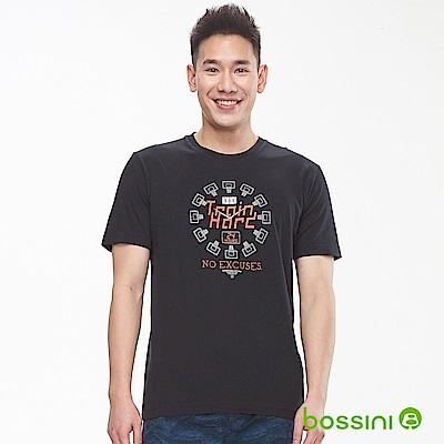 bossini男裝-印花短袖T恤15黑