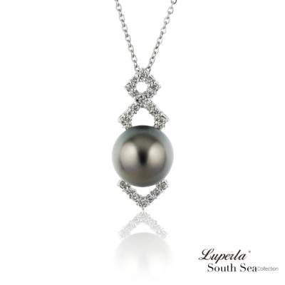大東山珠寶 真鑽18K白金南洋黑珍珠項鍊  星光熠熠