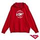 【PONY】長袖連帽大學T恤 情侶款 帽T T恤 男女款 紅 product thumbnail 1