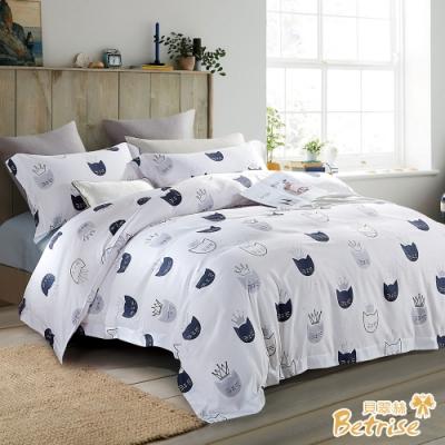 Betrise眺望的喵-白  雙人-3M專利天絲吸濕排汗四件式兩用被床包組