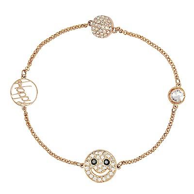 SWAROVSKI 施華洛世奇 璀璨微笑水晶墜飾玫瑰金手鍊手環