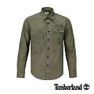 Timberland 男款地球英雄軍綠色斜紋布長袖襯衫|A1Y7V