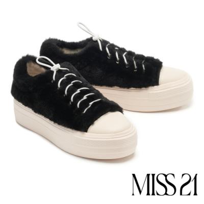 休閒鞋 MISS 21 可愛暖暖柔軟毛毛牛皮厚底休閒鞋-黑