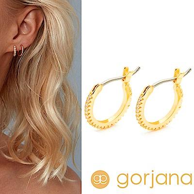GORJANA Shimmer Huggies 迷你小圓耳環 C型鑲鑽耳環 金色