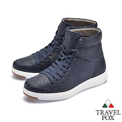 TRAVEL FOX(男) 輕雲系列 高筒超軟牛皮輕量時尚運動鞋 - 蜘蛛藍