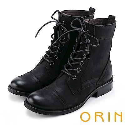 ORIN 中性街頭帥氣 嚴選牛皮綁帶帥氣軍靴-黑色