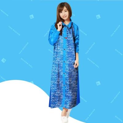 【TDN】飛躍側開背包雨衣連身雨衣前開式雨衣_藍色