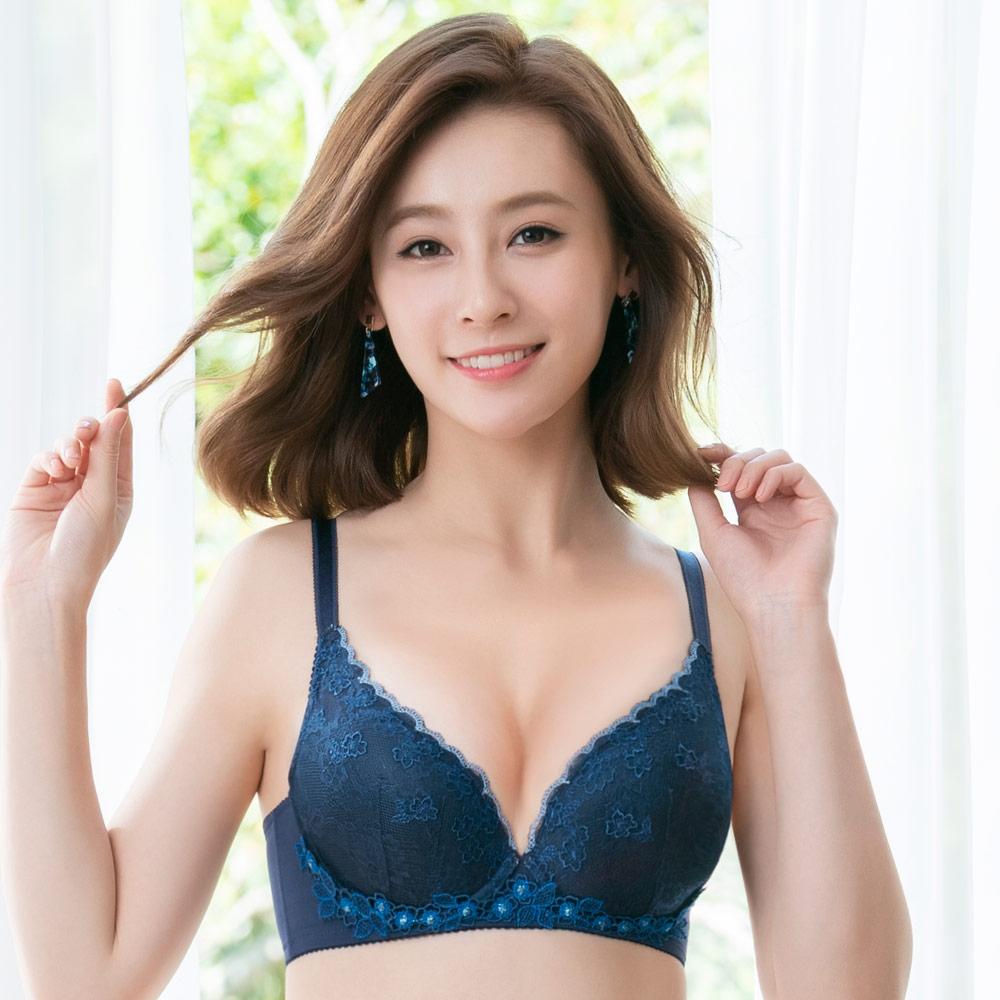 莎薇-粉水 B-C 罩杯內衣(藍)波光在現-保濕素材-小胸增量襯墊