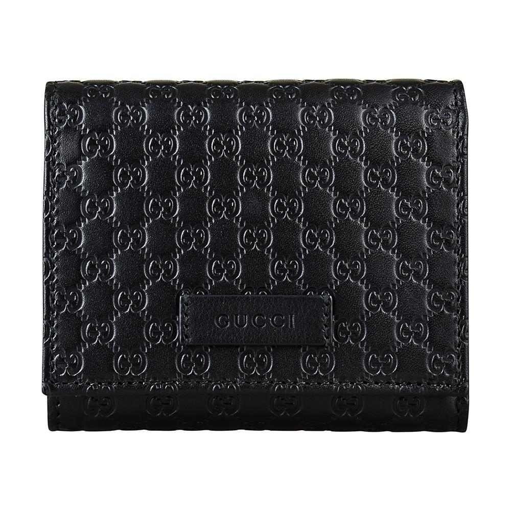 GUCCI經典Guccissima系列MINI雙G LOGO牛皮4卡釦式短夾(黑)GUCCI