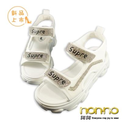nonno 諾諾韓系輕奢百搭個性厚底涼鞋-白