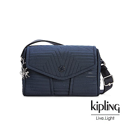 Kipling深海湛藍壓紋掀蓋肩背包-READY NOW S