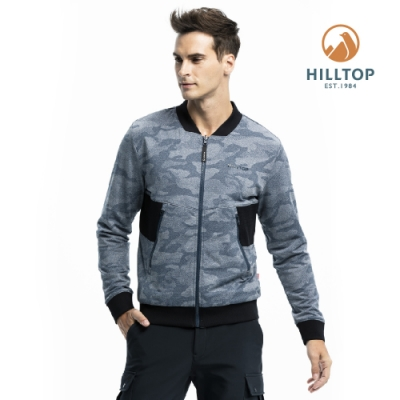 【hilltop山頂鳥】男款雙面穿彈性保暖迷彩夾克H24MJ9月光藍