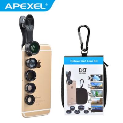 【APEXEL】5 in1 高解析度手機鏡頭套裝(APL-DG5H)