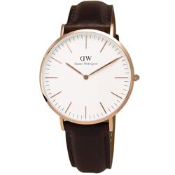 DW Daniel Wellington 現代俐落紳士皮革腕錶-白x玫瑰金/40mm
