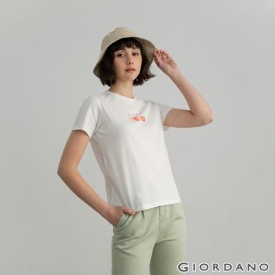 GIORDANO  女裝Positive印花T恤 - 02 皎白
