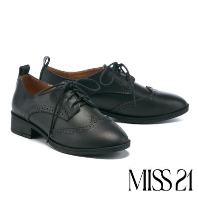 低跟鞋 MISS 21 復古英倫風全真皮綁帶牛津低跟鞋-黑