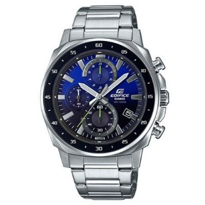 EDIFICE 前衛漸層風格設計碼錶圈計時腕表-湛藍面x黑框(EFV-600D-2A)/43.8mm