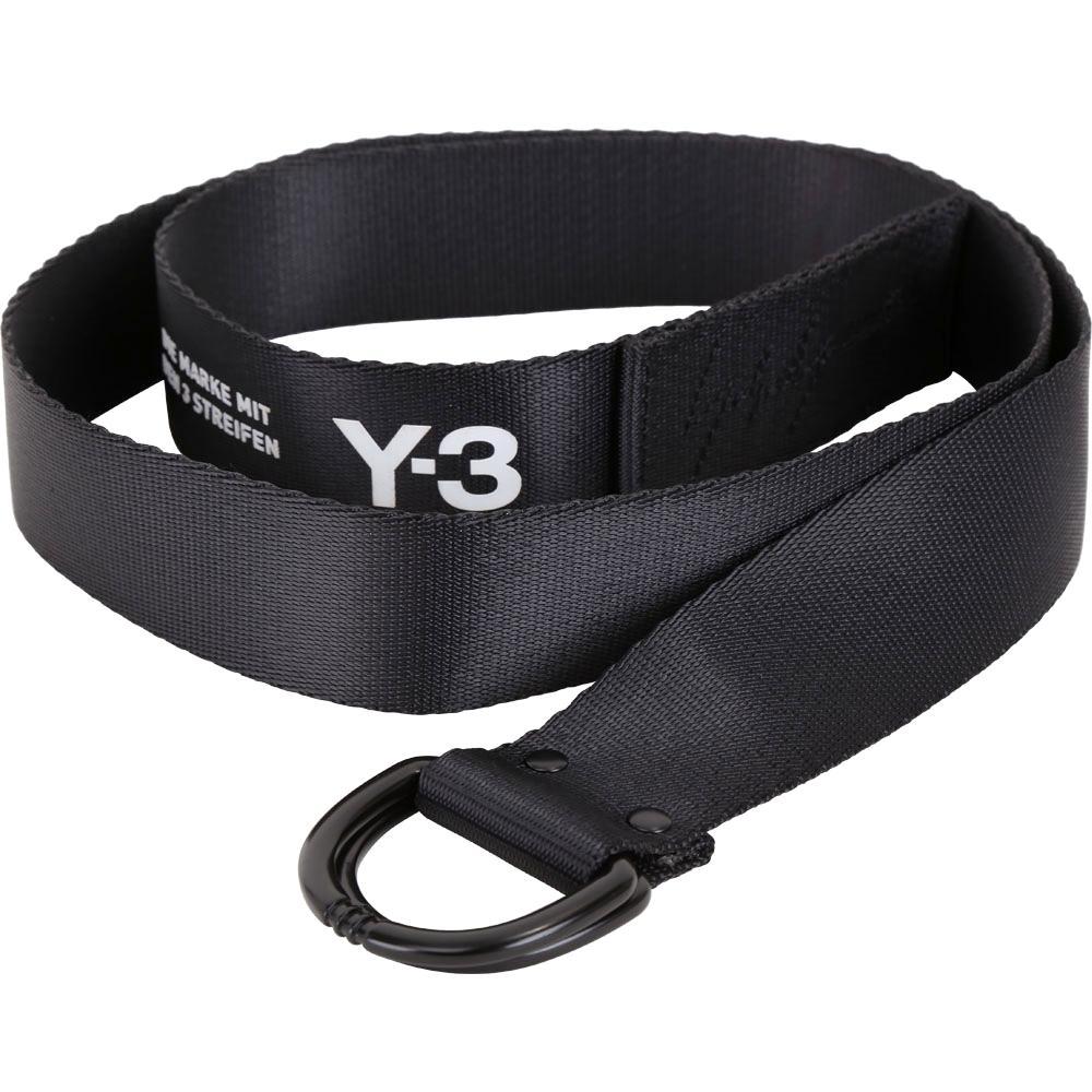 Y-3 Street D型環釦字母標誌織布腰帶(黑色)