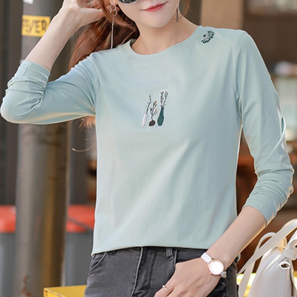 初色  寬鬆簡約刺繡T恤-灰綠-(M-2XL可選)