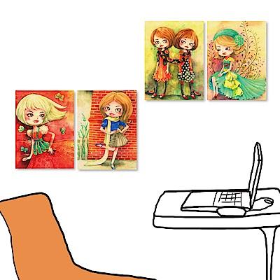 橙品油畫布 四聯式插畫風無框畫-女孩系列4 30x40cm