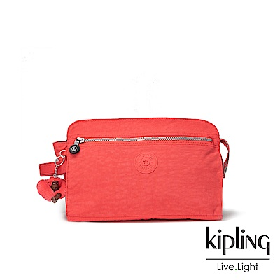 Kipling螢光澄素面手拿包-TRIM