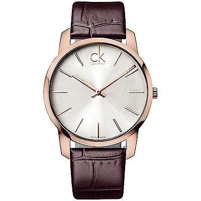 Calvin Klein CK City 極簡經典LOGO手錶-玫瑰金框/43mm