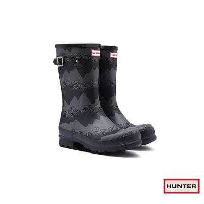 HUNTER - 男鞋-印花霧面長靴 - 黑