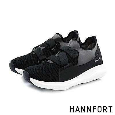 HANNFORT BUBBLES交叉尼龍織帶厚底跑鞋-女-黑