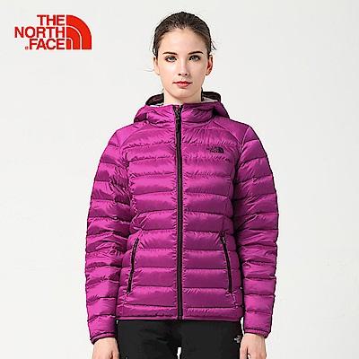 The North Face北面女款紫紅澎羽絨防潑水外套