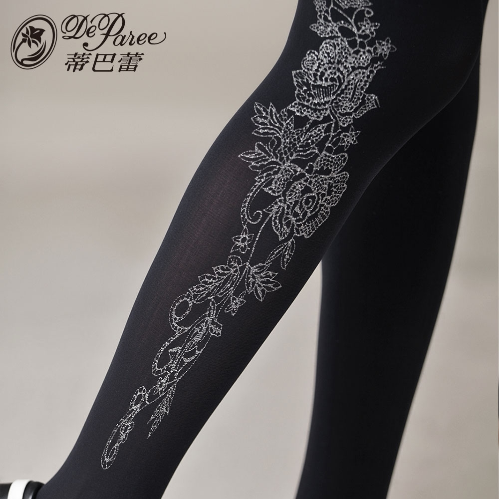 蒂巴蕾 SWEET 超細纖維天鵝絨全彈性褲襪120D-甜美花朵 黑色
