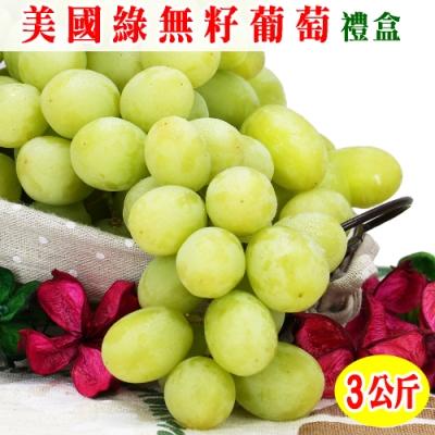 愛蜜果 美國加州綠無籽葡萄禮盒~約3公斤/盒(冷藏配送)