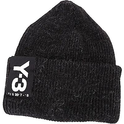 Y-3 Badge Beanie LOGO 縫標設計反摺針織毛線帽(黑色)