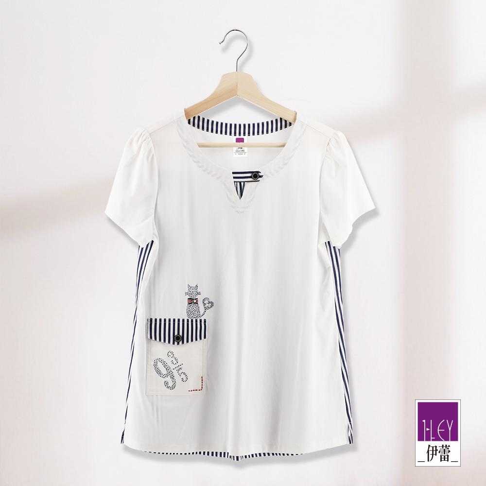 ILEY伊蕾 條紋拼接絲光棉上衣(白)