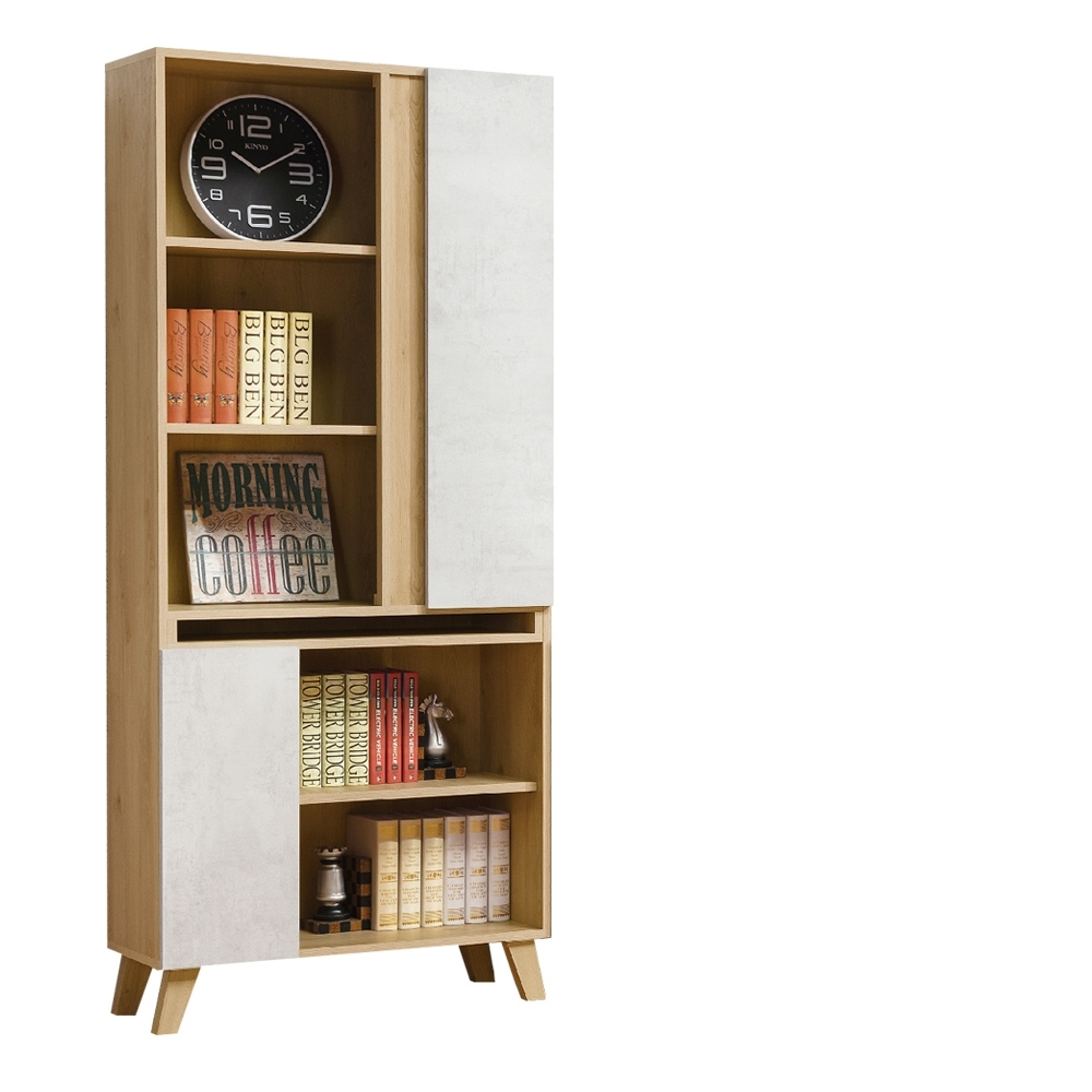 D&T德泰傢俱 JOYE清水模風格2.7尺書櫃-80x32x181cm