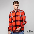 歐洲貴族oillio 長袖襯衫 時尚格紋 帥氣穿搭 紅色