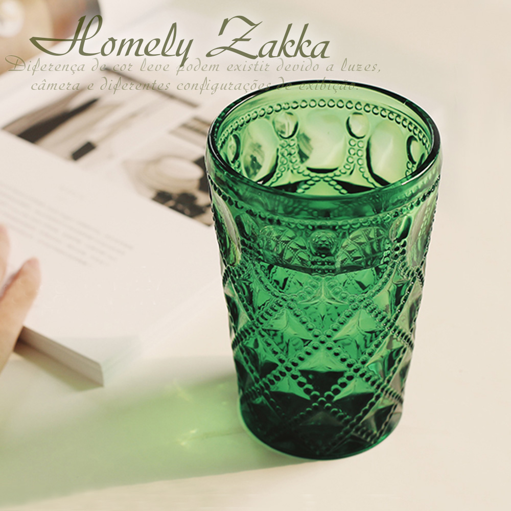 Homely Zakka 午茶食光歐式古典浮雕玻璃杯(寶石格紋)400ml-樹綠