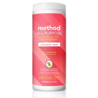 Method 美則 全效居家清潔濕紙巾-粉紅葡萄柚 30入