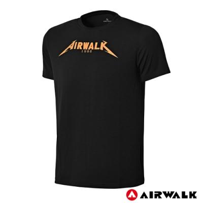 【AIRWALK】男款圓領印花T-黑色