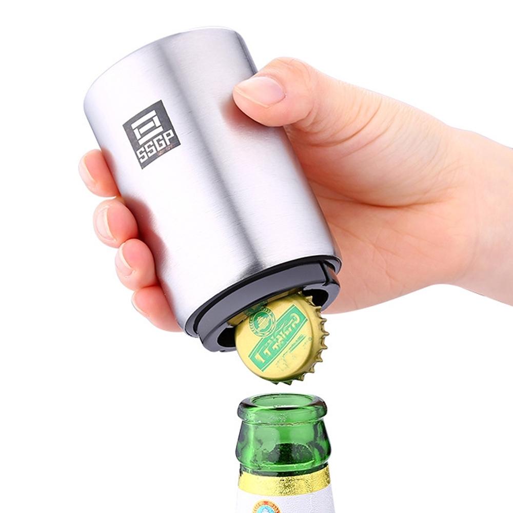 PUSH!餐廚用品不銹鋼啤酒開瓶器開酒器自動按壓啤酒開蓋器起瓶器D197(一入)