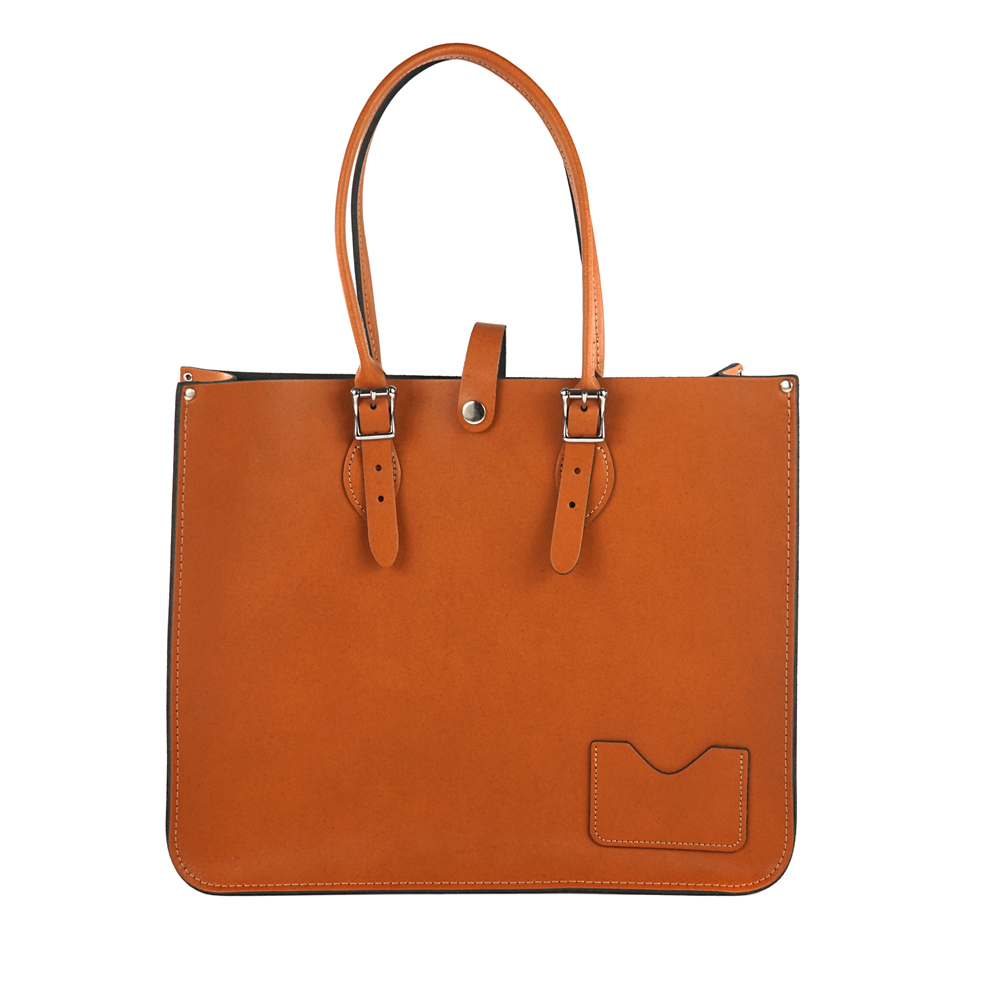 The Leather Satchel 英國手工牛皮寬版托特包 手提 肩背包 倫敦棕