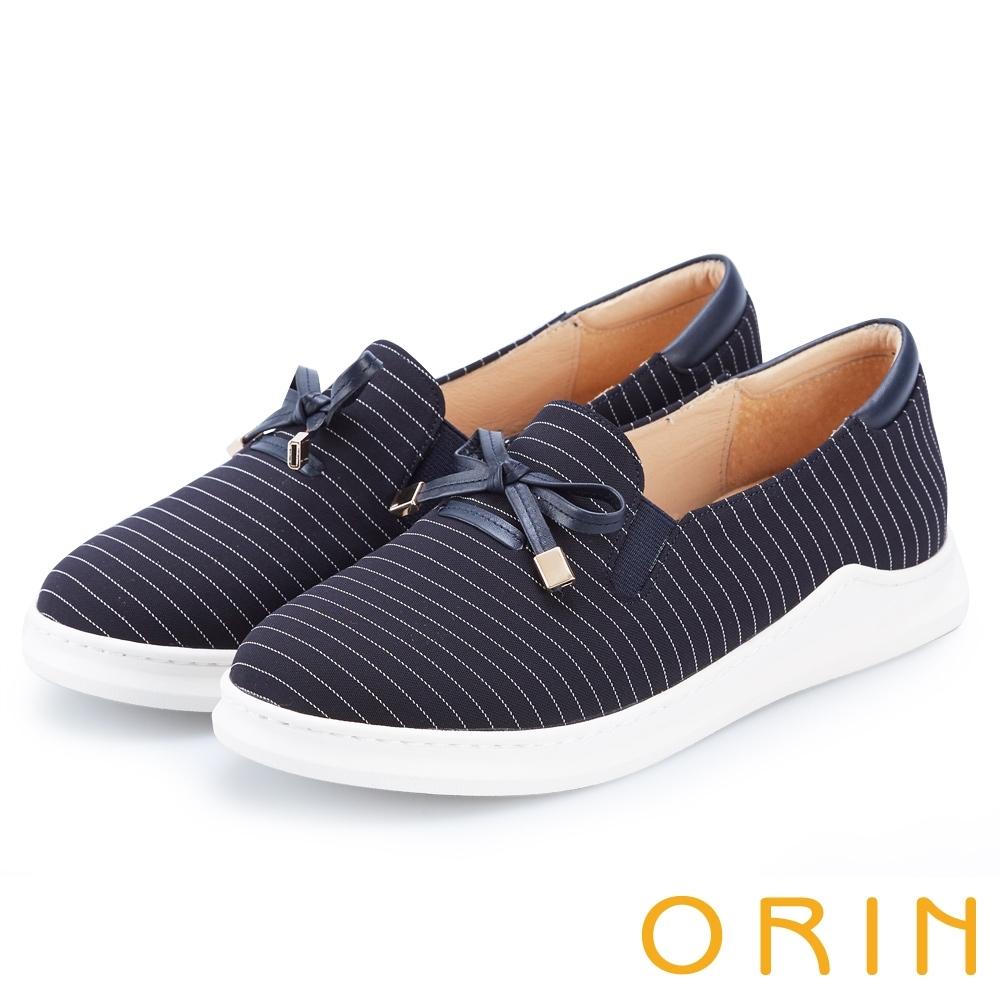 ORIN 條紋質感拼接平底 女 休閒鞋 深藍