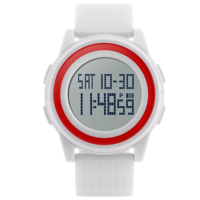 Mirabelle雙框炫色 LED鬧鐘防水矽膠手錶 白面紅框45mm
