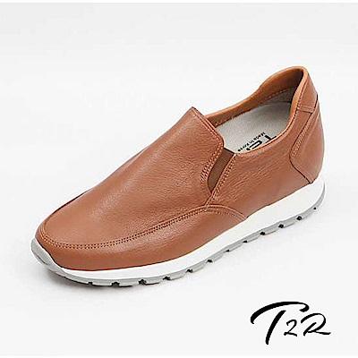 【韓國T 2 R手工訂製增高鞋】真皮氣質樂福增高鞋-咖啡