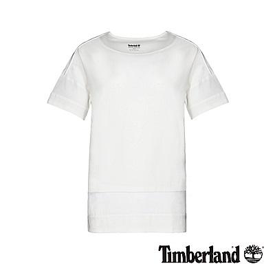 Timberland 女款白色防UV拼接網格短袖T恤|B3514