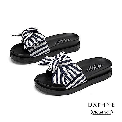 達芙妮DAPHNE 涼鞋-幾何條紋蝴蝶結造型舒軟休閒拖鞋-藍色